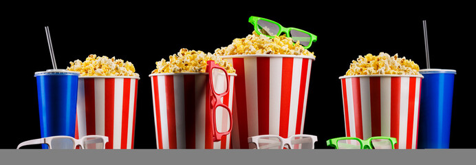Set of striped buckets with popcorn, cups of drink and glasses isolated on black