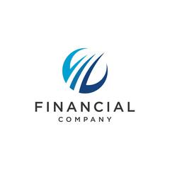 Financial swoosh  chart icon symbol logo design flat minimalist
