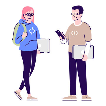 Programmers flat vector characters. Software and web developers, geeks couple holding laptops cartoon illustration with outline. Woman and man coders, IT industry workers isolated on white background