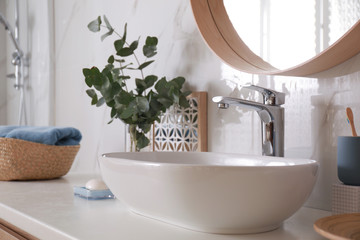 Stylish bathroom interior with vessel sink and decor elements Fototapete