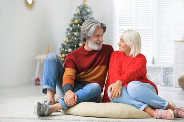 Happy mature couple celebrating Christmas at home