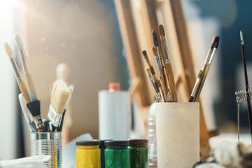 Fine arts supplies in the studio