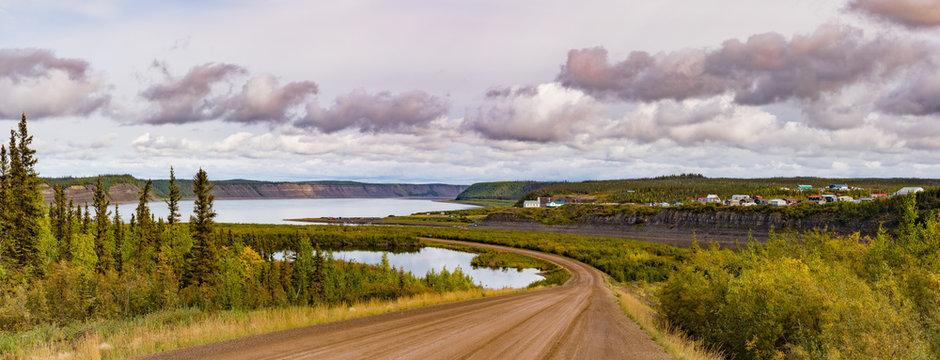 Dempster Highway at Tsiigehtchic Mackenzie River NWT Canada