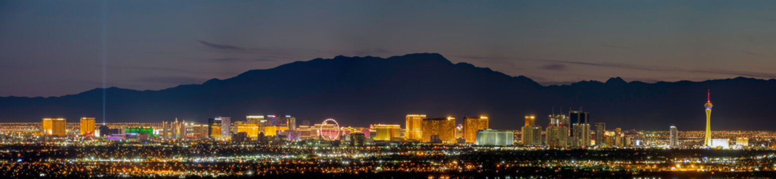 Aerial night high angle view of the downtown Las Vegas Strip