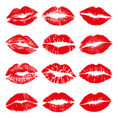 Lipstick Kiss Vector Set