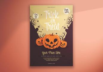 Halloween Flyer Layout with Illustrative Pumpkins