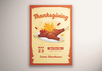 Thanksgiving Flyer Layout with Illustrative Elements