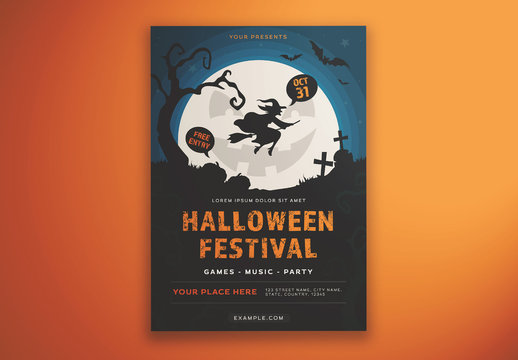 Halloween Festival Flyer Layout with Illustrative Elements