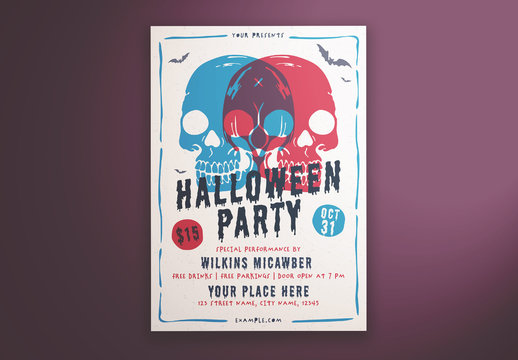 Halloween Party Flyer Layout with Illustrative Skulls
