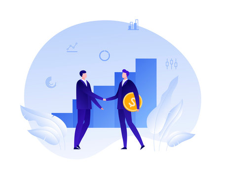 Vector flat business cooperation person illustration.Two male handshake holding coin on chart background. Concept of analytics, consulting. Design element for banner, poster, infographic, web.