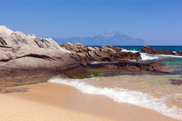 Sarti Beach and Mt. Athos, Sithonia, Greece