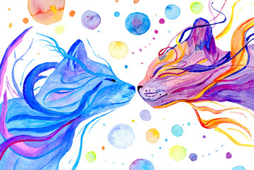 Watercolor multi colored cats isolatedon white background. Hand painted illustration.