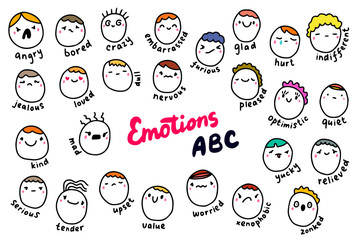 Emotions abc hand drawn vector illustration in cartoon comic style. People heads with different feelings types colorful alphabet