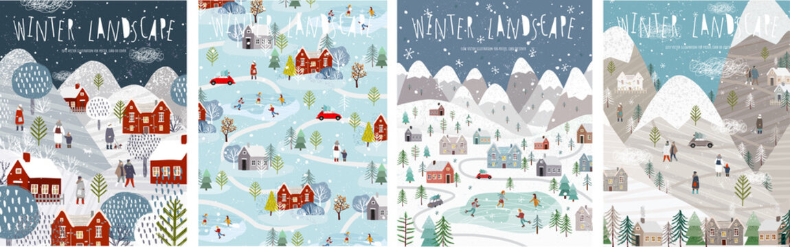 Winter landscape. Vector illustration of nature, city, houses, people, trees and mountains in the New Year and Christmas holidays. Drawings for poster, background or card.