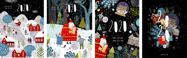 Fototapeten Schwarz 2020! Merry Christmas and a happy new year! Vector illustration with the congratulation of the coming year, night winter cityscape, family and children with santa claus and numbers 2020.