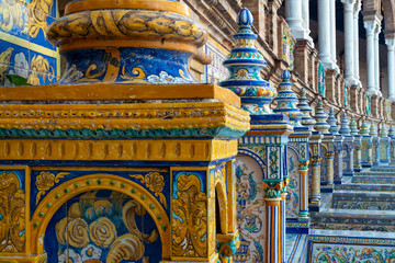Details of the mosaic decoration of Plaza de España in Sevilla, Spain