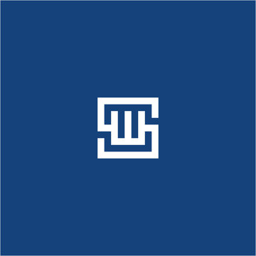 Letter SW WS monogram logo design square style minimalist template