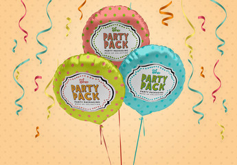 Round Foil Balloons Mockup