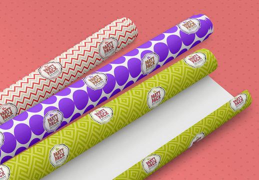 Gift Wrap Rolls Mockup