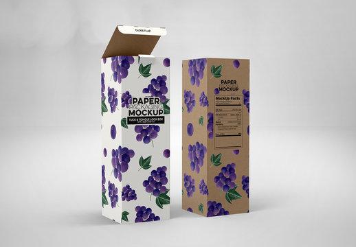 Tall Paper Boxes Tuck and Tongue Lock Packaging Mockup