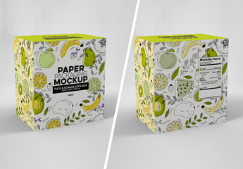 Front and Back Paper Box Tuck and Tongue Lock Mockup
