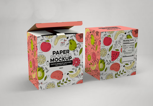 Paper Boxes Tuck and Tongue Lock Packaging Mockup