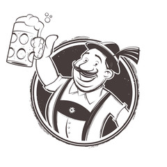 vintage cartoon illustration of a bavarian man with beer