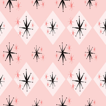 Atomic age starburst seamless pattern inspired by 1960's kitsch. Pink and black repeat that shows the stylized mid century look, common with space age advertising, textiles, paper, fashion and decor.