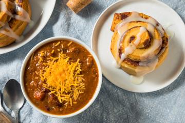 Homemade Chili Soup and Cinnamon Roll