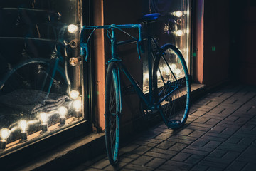 Aluminium Prints Bicycle bike parking at night