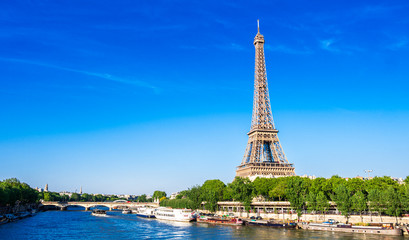 Foto op Plexiglas Eiffeltoren 世界遺産 パリのセーヌ河岸 エッフェル塔 ワイド