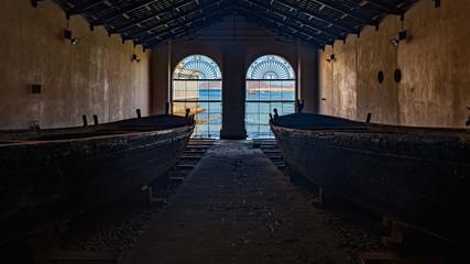 Tuna fishing boats in Tonnara Florio (Florio old factory), Favignana, Egadi Islands, Italy