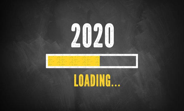 blackboard with message 2020 loading