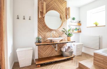 Boho style bathroom interior. Wall mural