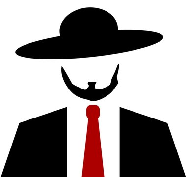 Amish man with red tie and hat