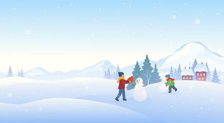 Winter kids and snowman