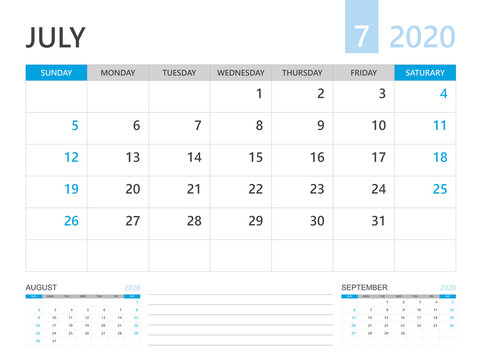 Calendar 2020 template, JULY 2020 year, desk calendar 2020 layout, corporate design planner template. blue color