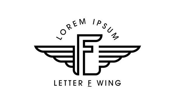 Letter F Wing Emblem Logo