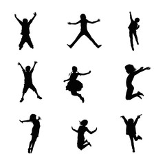 Happy Kids Jumping Silhouettes
