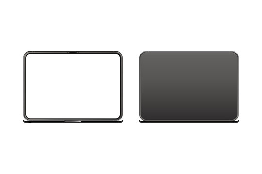 Mock-up of realistic Laptop. Front side with screen and back side isolated on white background with shadow. Flat vector illustration EPS 10.