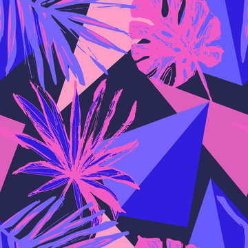 Funky floral geometric seamless pattern in trendy memphis style, the 80s, 90s neon colors
