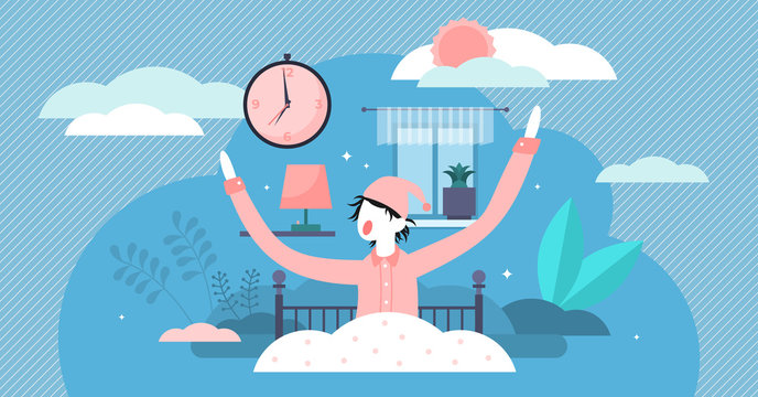 Waking up vector illustration. Flat tiny morning beginning persons concept.