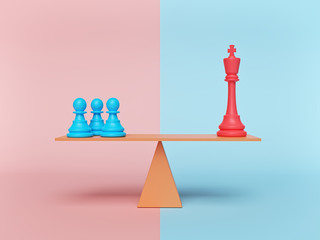 chess king and pawn standing on a balance. minimal concept. 3d rendering