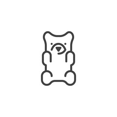 Jelly bear candy line icon. linear style sign for mobile concept and web design. Gummy Bear outline vector icon. Symbol, logo illustration. Vector graphics