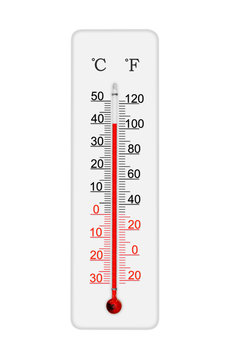 Celsius and fahrenheit scale meteorology thermometer for measuring air temperature. Thermometer isolated on white background. Air temperature plus 40 degrees celsius