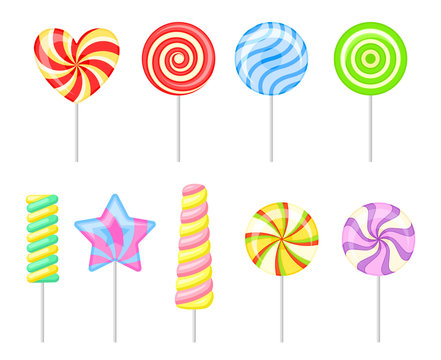 Set of multi-colored lollipops. Vector illustration on a white background.