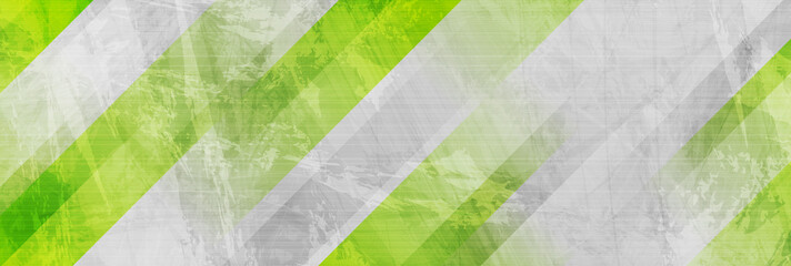 Fotobehang - Tech green stripes on abstract grey grunge corporate header banner. Vector background