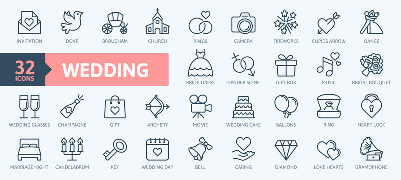 Wedding - thin line web icon set. Outline icons collection. Simple vector illustration.