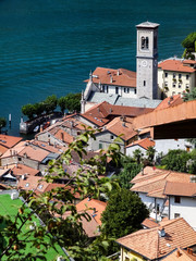 The roofs of the small village Torno at the Como lake northern Italy - Lombardy region