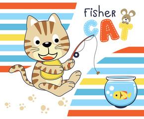 Cat fishing in the jarr, vector cartoon illustration